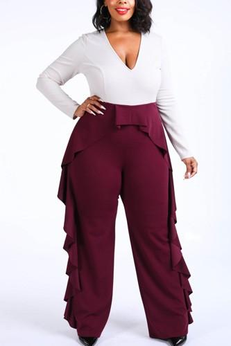 Ruffled Pant Detailed Color Block Jumpsuit