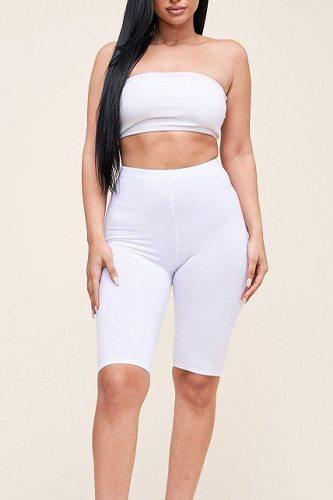 Solid Cotton Lycra Biker Length Shorts