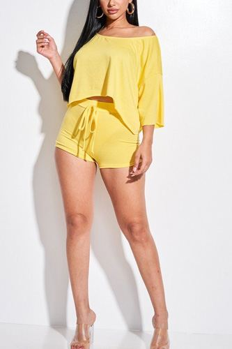 Solid French Terry Slouchy Top And Shorts Two Piece Set