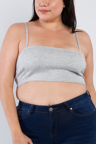 Plus Size Open Stripe Back Cami Strap Athletic Lounge Bra