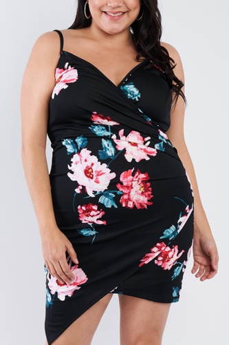 Plus Size Floral Print V-neck Cinched Size Chic Mini Dress