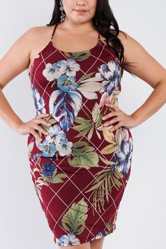 Plus Size Criss-cross Open Back Mini Floral Print Dress