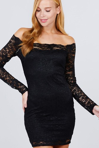 Long Sleeve Scallop Off Shoulder Lace Mini Dress