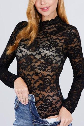 Long Sleeve Scallop Mock Neck Lace Bodysuit