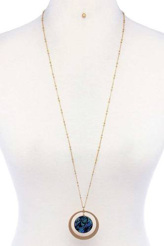 Aligned Double Circle Pendant Necklace And Earring Set