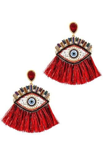 Hot Trendy Eye And Fan Tassel Drop Earring