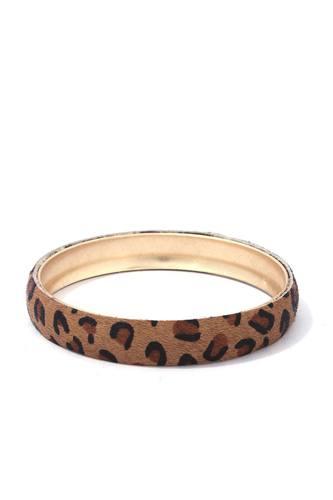 Animal Print Metal Bangle Bracelet