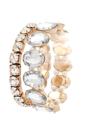 Oval Rhinestone Stretch Stackable Bracelet