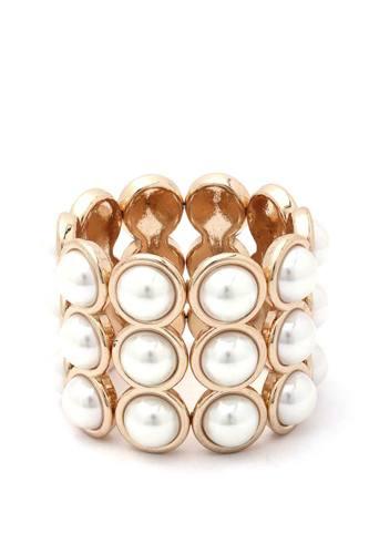 Pearl Bead Wide Stretch Bracelet