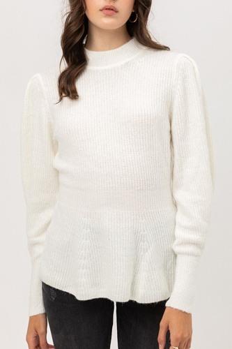 2 Tone Tweed Yarn Puff Sleeve Sweater