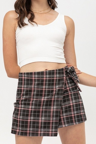 Knit Yarn Dye Plaid Skirt