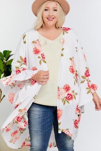 Floral Print Ruffle Detailed Draped Longline Maxi Kimono Cardigan