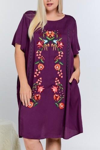 Floral Embroidered Lace Trim Keyhole Back Short Sleeve Shift Dress.