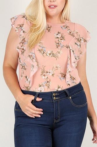 Plus Size Floral Print Sheer Top