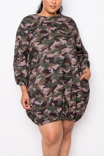 Camo Bubbled Poplin Dress