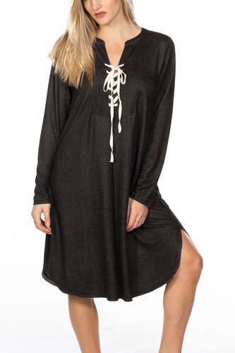 Lace Up V Neck Loose Tunic Dress