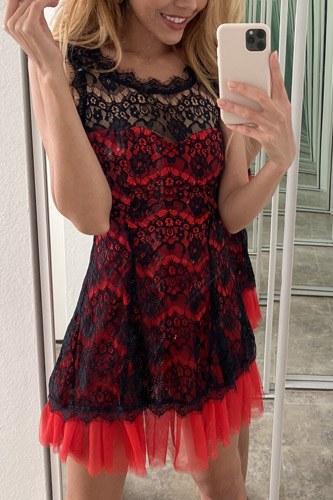 Black Red Lace Contrast Tulle Hem Mini Dress