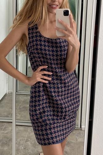 Multi Houndstooth Pattern Sleeveless Mini Dress