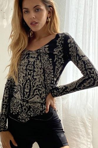 Grey Textured Print Dropped Shoulder Boho Sweatshirt