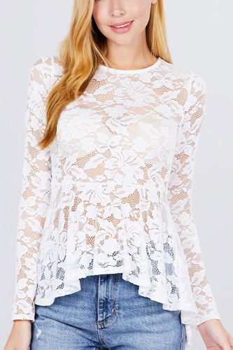 Long Sleeve Round Neck Peplum Lace Top