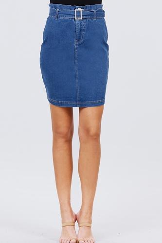 Elasticized Waist With Belt Side Pocket Denim Skirts