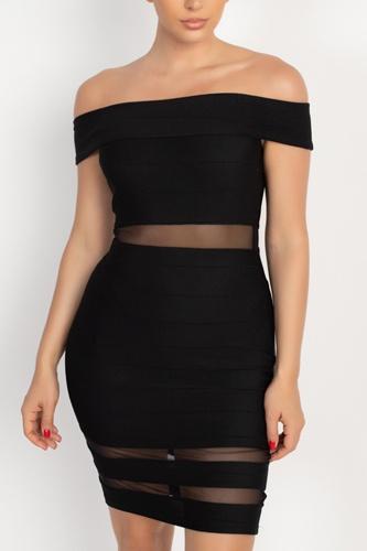 Off Shoulder Shadow Stripe Mini Dress