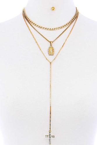 Triple Layer Chain Cross And Mary Pendant With Earring Set