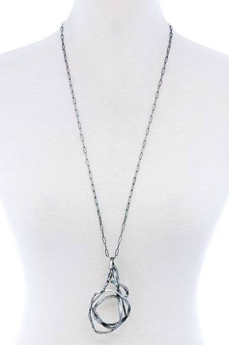 Chic Stylish Wire Art Pendant Long Necklace