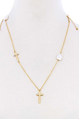 Triple Cross And Pearl Pendant Endless Necklace