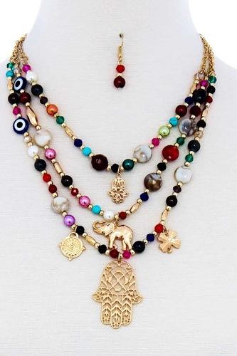 Multi Bead And Hamsa Hand Pendant Necklace