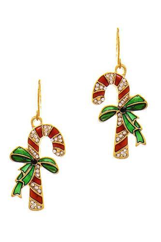Modern Trend Cute Rhinestone Christmas Cane Earring