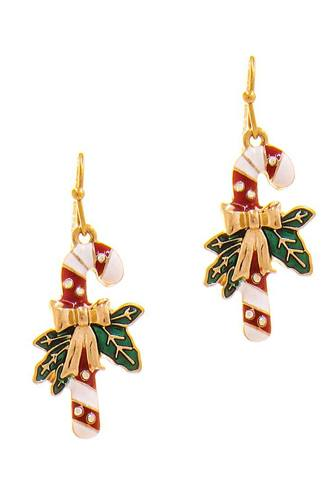 Modern Christmas Cane Ribbon Design Earring