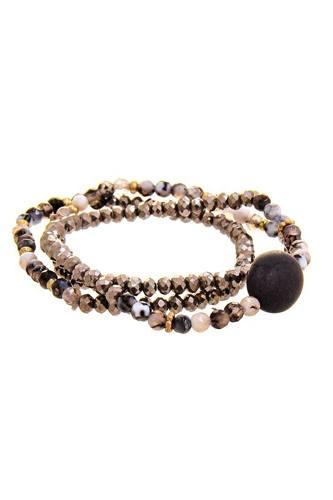 Triple Simple Multi Bead Link Oval Bracelet