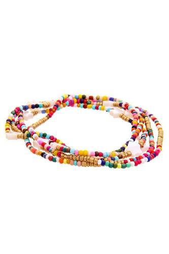 Trendy Multi Layer Colored Bead Star Link Design Bracelet
