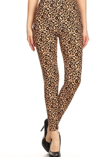 Leopard Printed, Full Length, High Waisted Leggings In A Fitted Style With An Elastic Waistband.