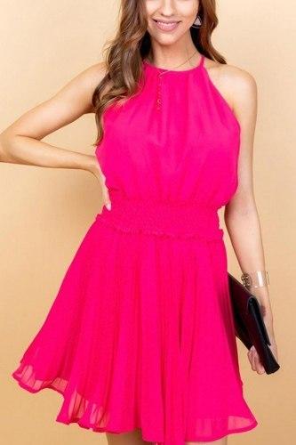Round Neck Waist Smocking Back Button Pleats Bottom Skirt Solid Dress