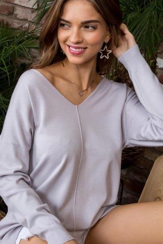V Neck 3/4 Sleeve Side Slit Hi-lo Sweater