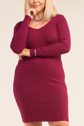 Plus Size V-neck Long Sleeve Ribbed Sweater Bodycon Mini Dress