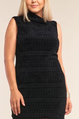 Plus Size Sleeveless Ribbed Knit Semi-turtleneck Mini Dress