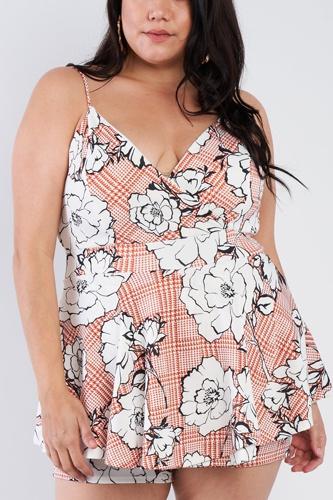Plus Size Floral Short Skort Mini V-neck Romper