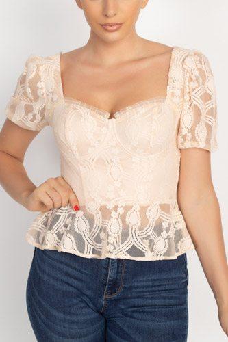 Sheer Lace Sweetheart Flounce Top