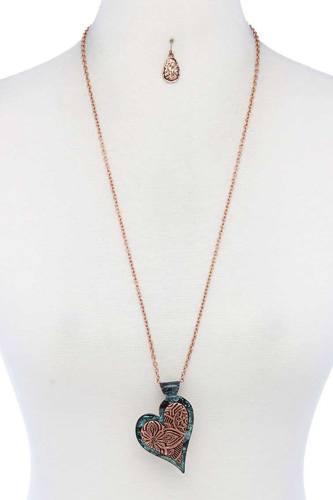 Two Tone Filigree Hert Shape Pendant Necklace