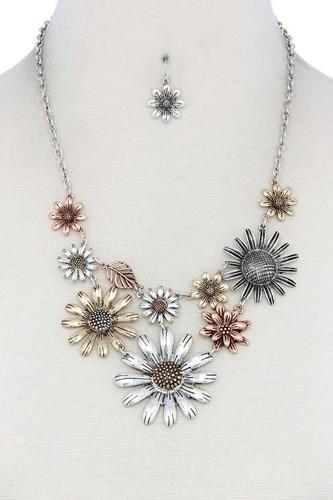 Mutli Color Flower Necklace