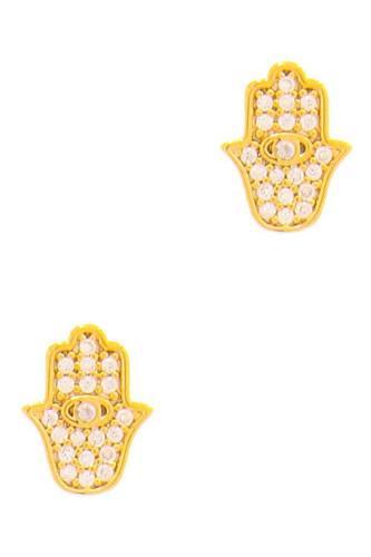 Trendy Hamsa Hand Rhinestone Stud Earring