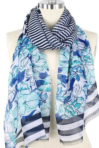 Flower Stripe Print Scarf
