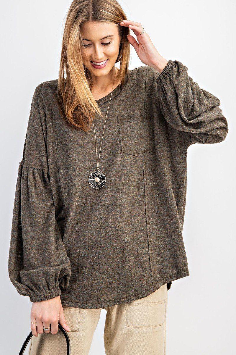 Bubble Slvs Multi Tone Light Hacci Sweater Top