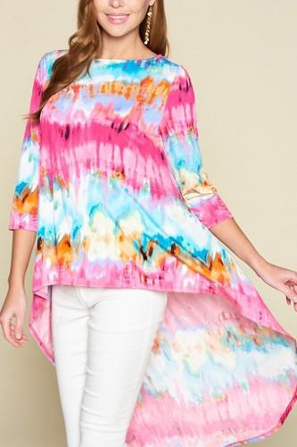 Tie-dye Venechia High Low Fashion Top With 3/4 Sleeves