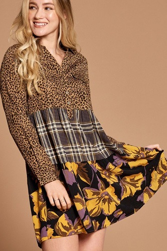 Cheetah Print Button-down Collard Shirt Dress