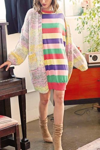 Multi-colored Striped Knit Sweater Dress