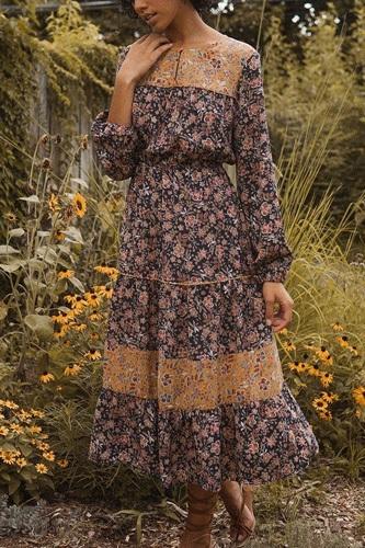 A Floral-print Woven Midi Dress